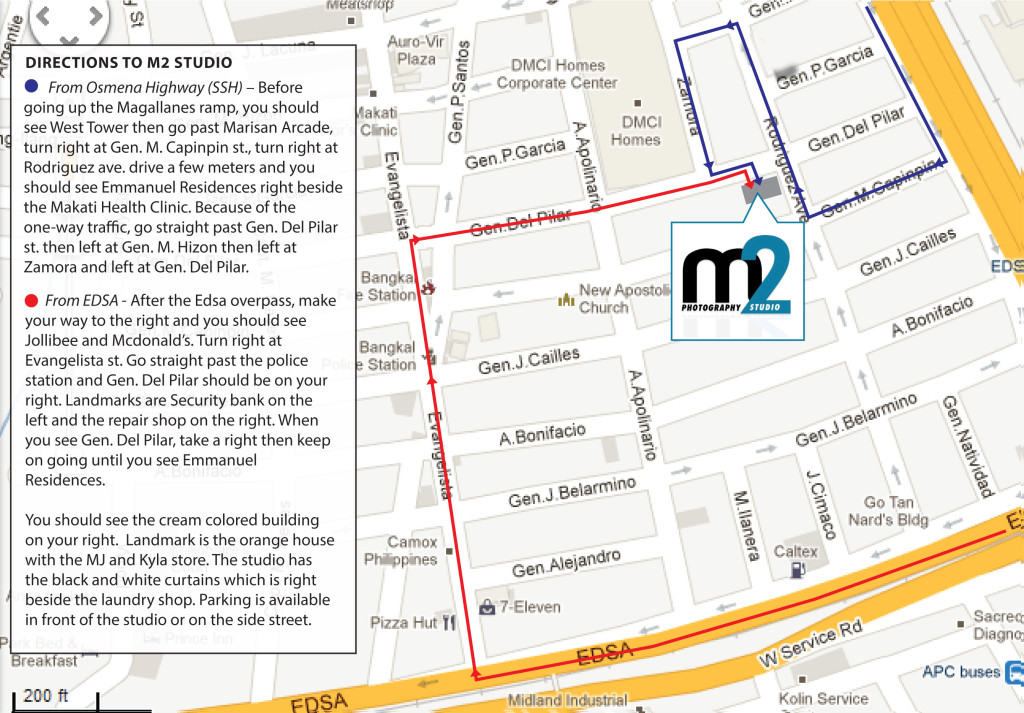 M2 Studio printable driving map