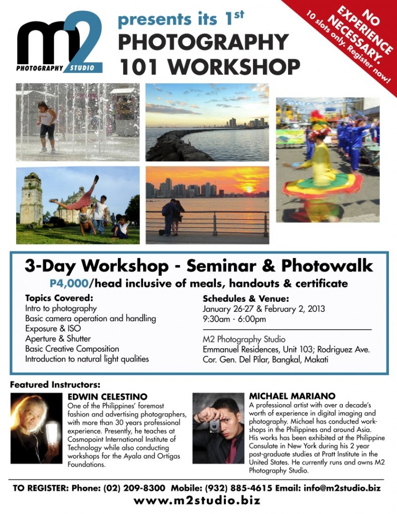 M2 Photography Studio | Photography 101 workshop poster